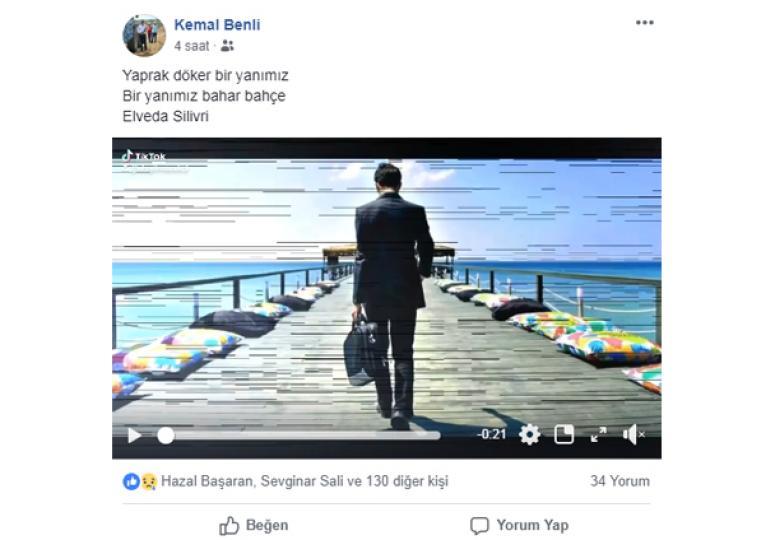 Benli'den veda paylaşımı