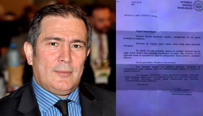 İstanbul Barosu'ndan Ünal Doğrul'a tebrik mektubu